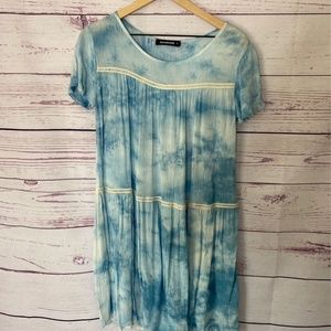 Annabelle Women Shift Dress Blue White Tie Dye SM
